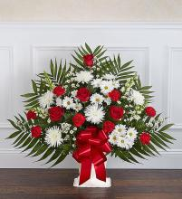 Heartfelt Tribute Floor Basket- Red & White