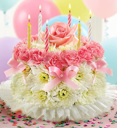Birthday Flower Cake-Pastel