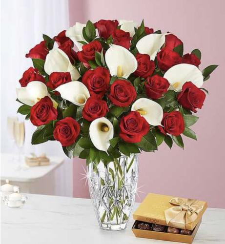 Red Rose And White Calla Lily Arrangement With Godiva