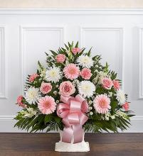 Heartfelt Tribute Floor Basket- Pink & White